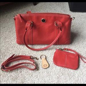 Large Dooney & Burke leather satchel keychain set